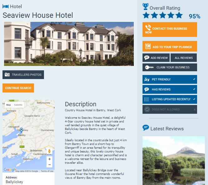 Seaview House Hotel Profile Page