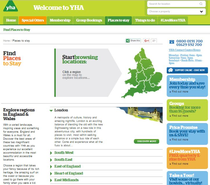 YHA England and Wales Home Page Screenshot