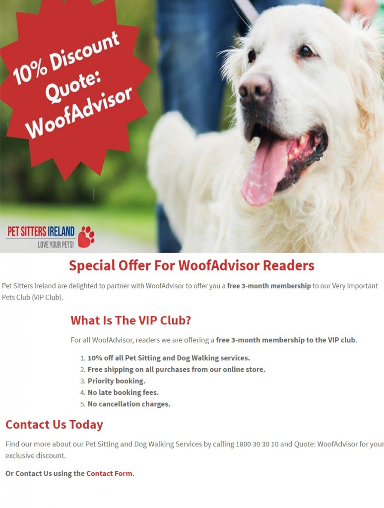 Pet Sitters Ireland WoofAdvisor 10% off Promotion
