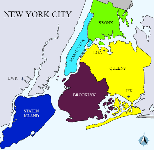 New York City's five boroughs—Manhattan, the Bronx, Queens, Brooklyn and Staten Island