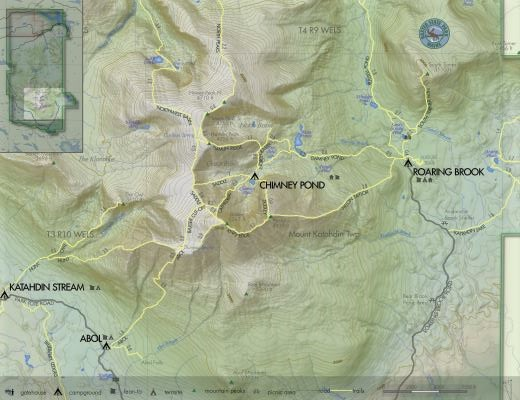 Katahdin Woods and Waters Maine Hiking Trails Map Image Credit Baxter State Park