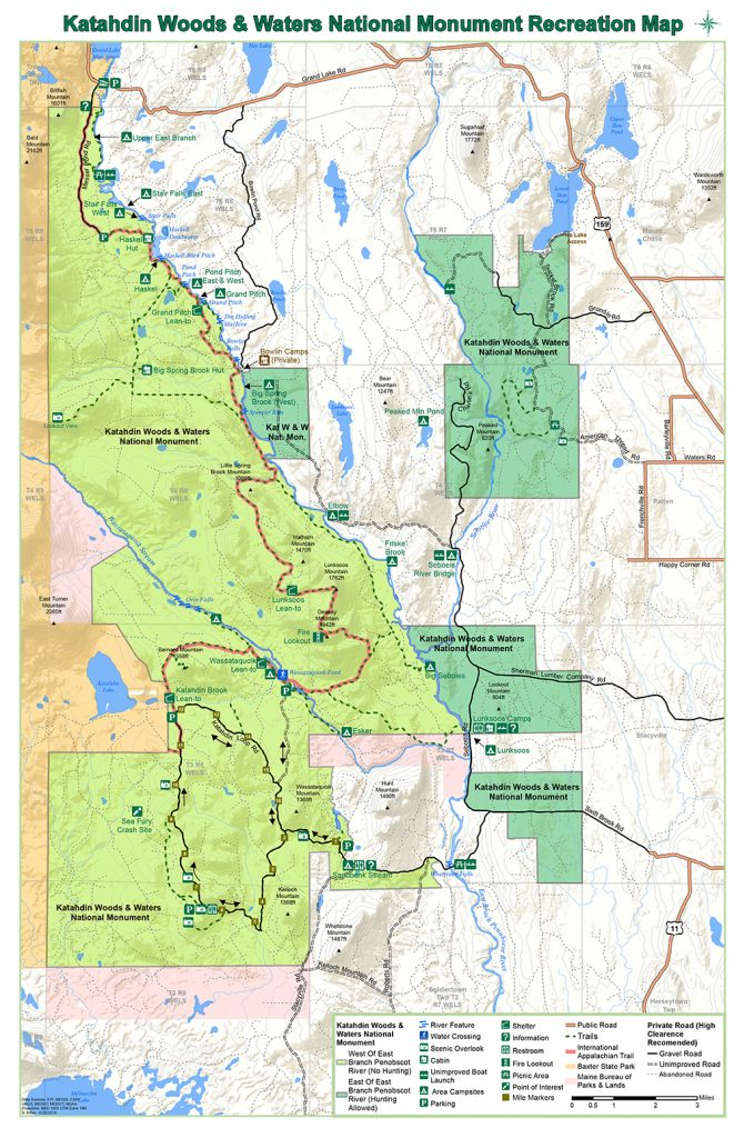 Katahdin Woods and Waters National Monument Maine Recreation Map