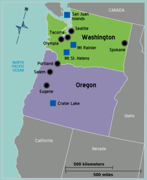 Map of the Pacific Northwest (PNW) courtesy of Wikitravel