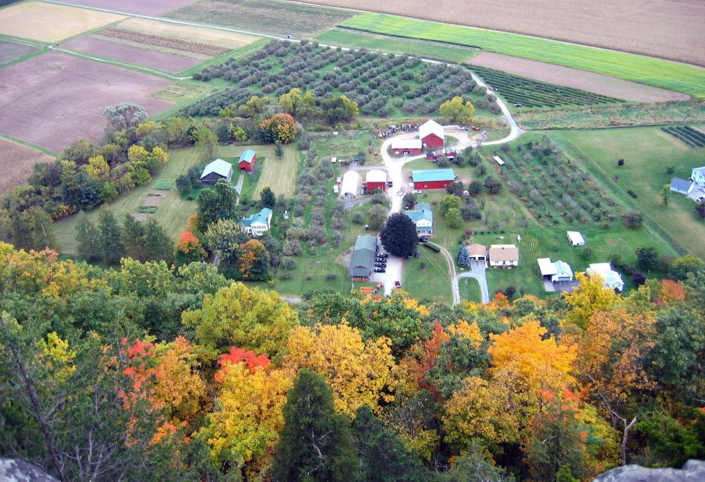 View of a farm from the top of Vroman's Nose