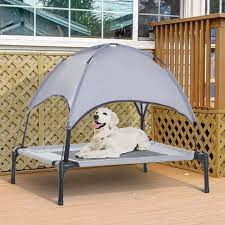 PawHut Elevated Portable Dog Cot Cooling Pet Bed with UV Protecting Canopy Shade